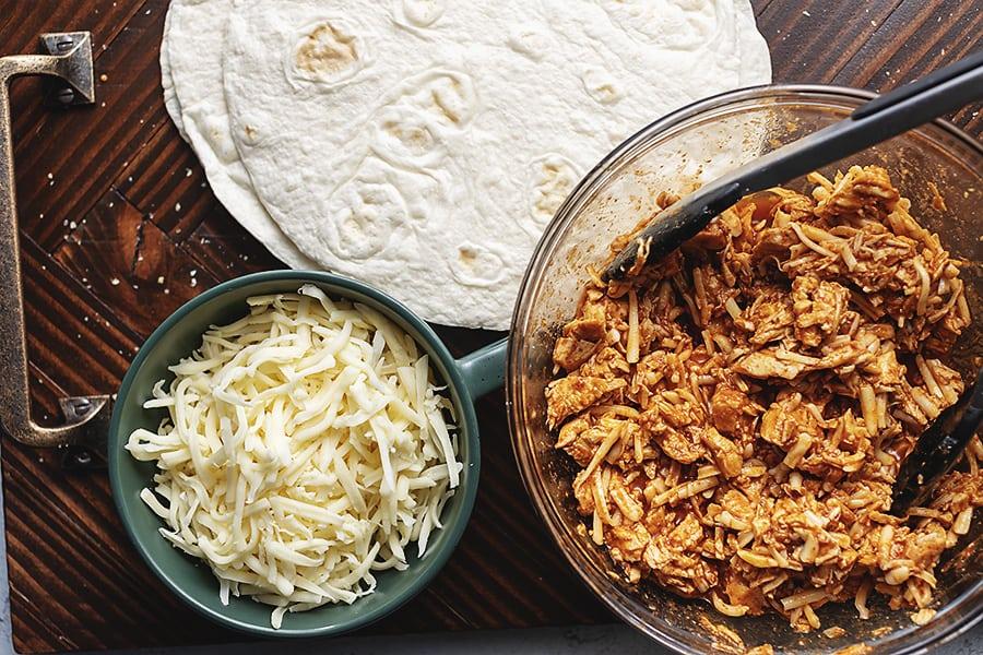 keto chicken enchilada quesadillas process