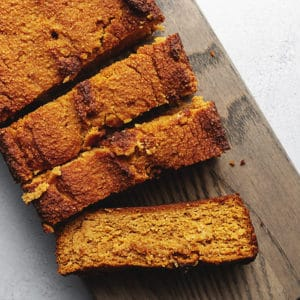 keto pumpkin bread on a cutting board