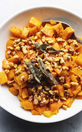roasted butternut squash in a white bowl