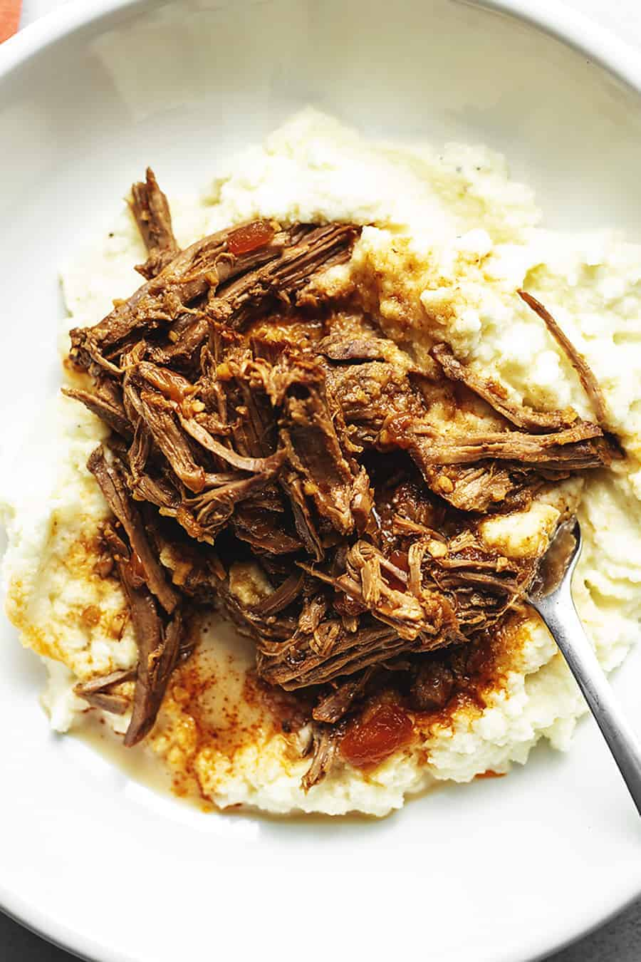 slow cooker London broil with cauliflower mash