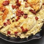 CHEESY RANCH CHICKEN IN A RED SKILLET