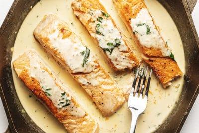 keto salmon with creamy lemon garlic sauce