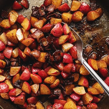 pan fried radishes with crispy bacon in a skillet