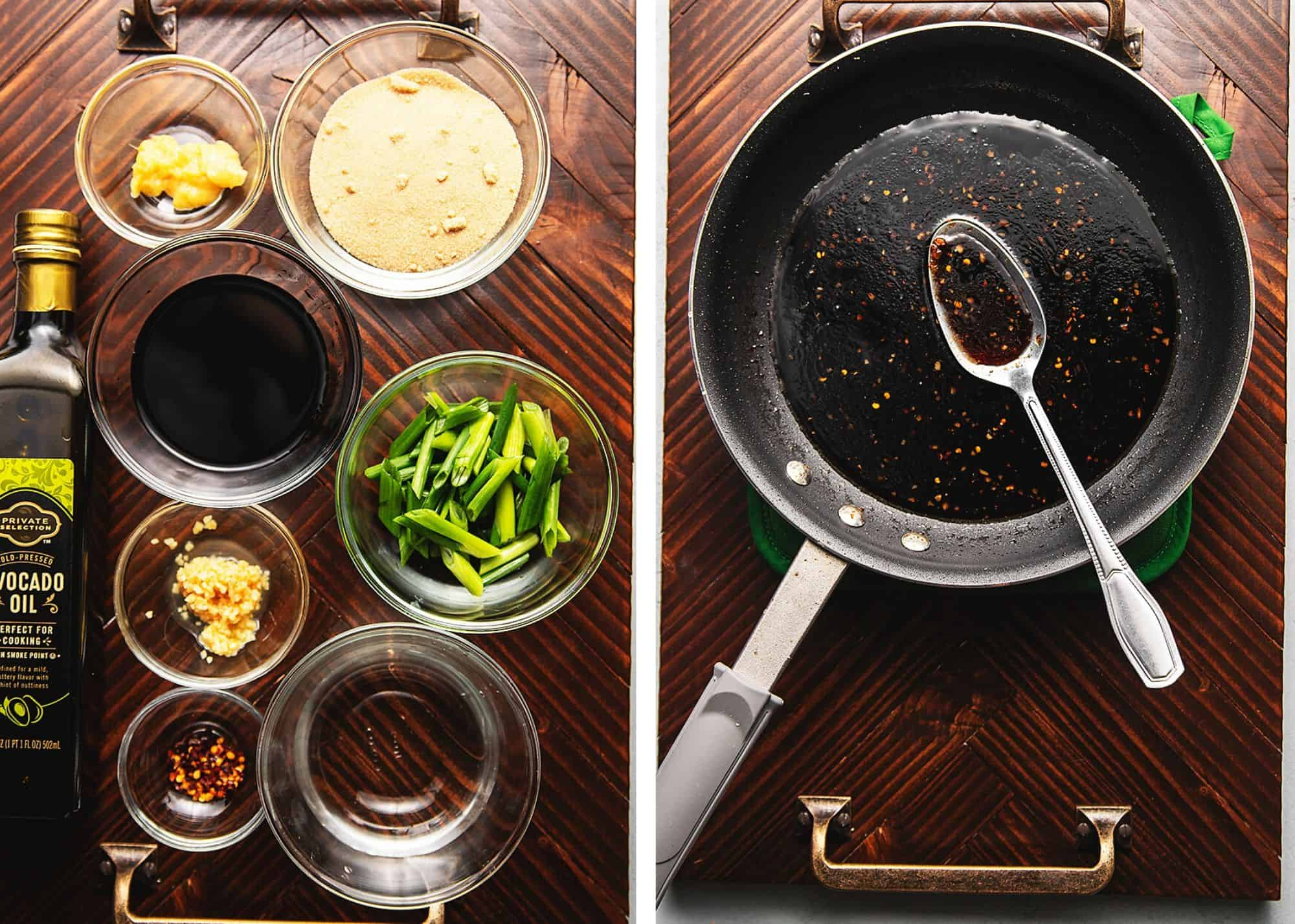 ingredients and sauce for mongolian beef