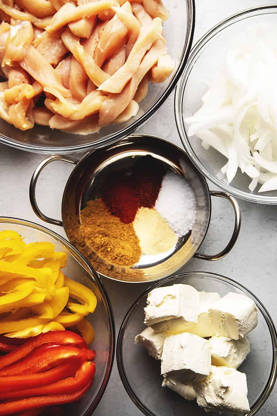 creamy chicken fajitas ingredients