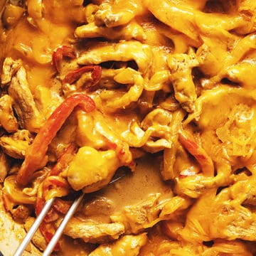 chicken fajita casserole in a skillet