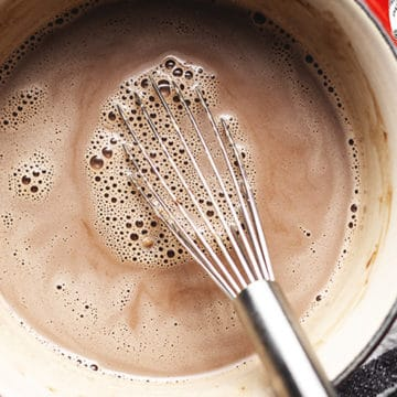 keto hot chocolate in a sauce pan