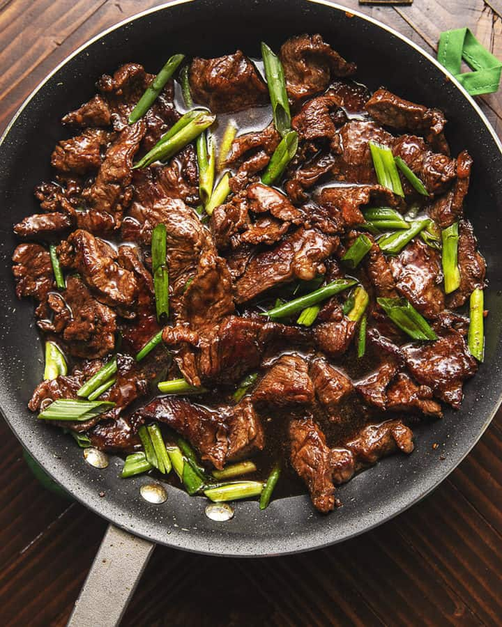 KETO MONGOLIAN BEEF IN A SKILLET
