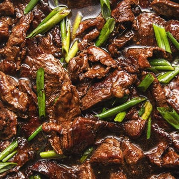 close up picture of low carb Mongolian beef