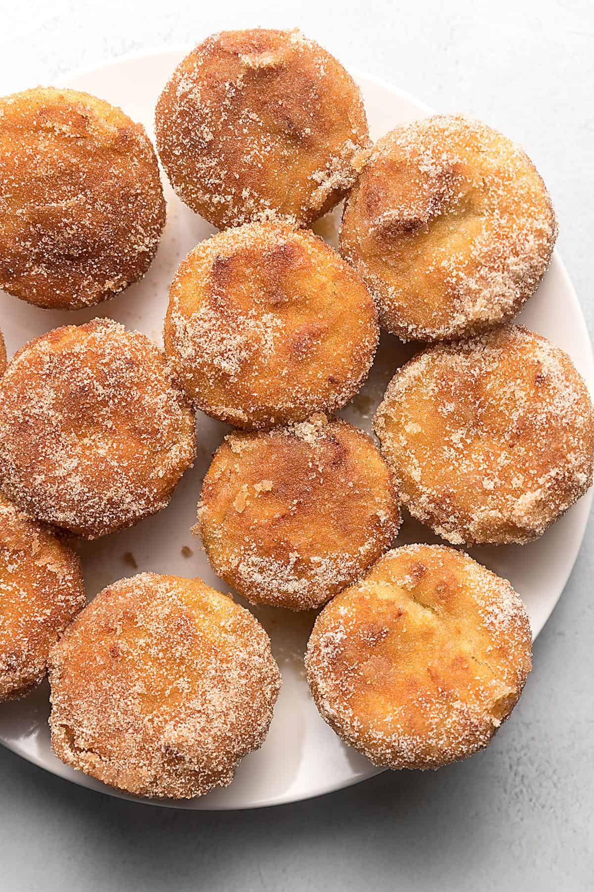 keto cinnamon muffins on a white plate