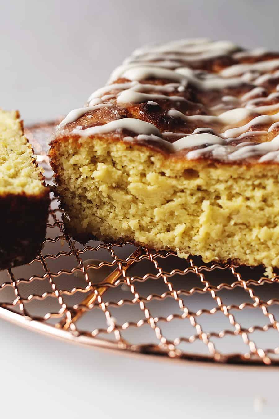 keto lemon pound cake on a gold coloring rack