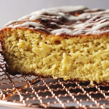 lemon pound cake on a cooling rack