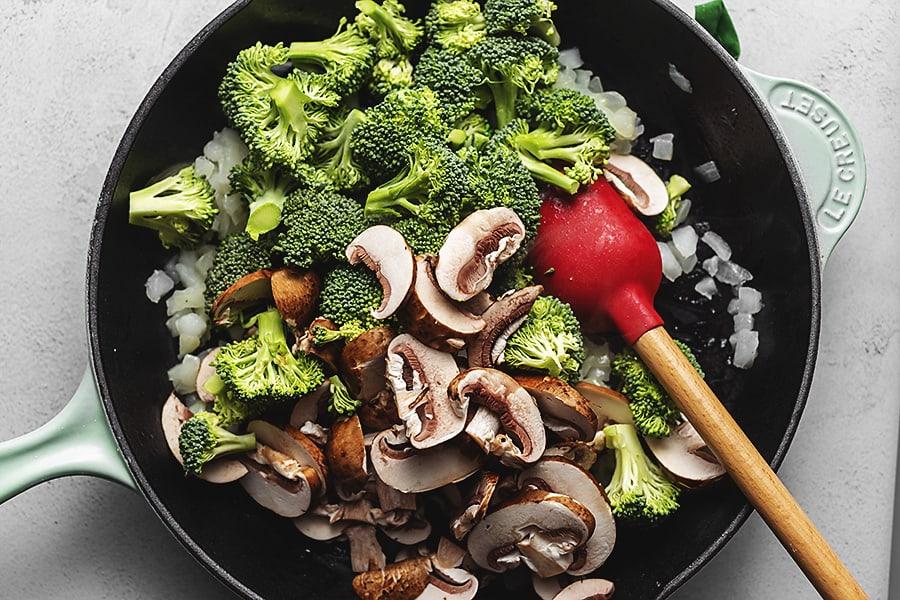stir fry veggies in a skillet
