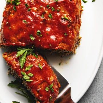 turkey meatloaf on a white platter