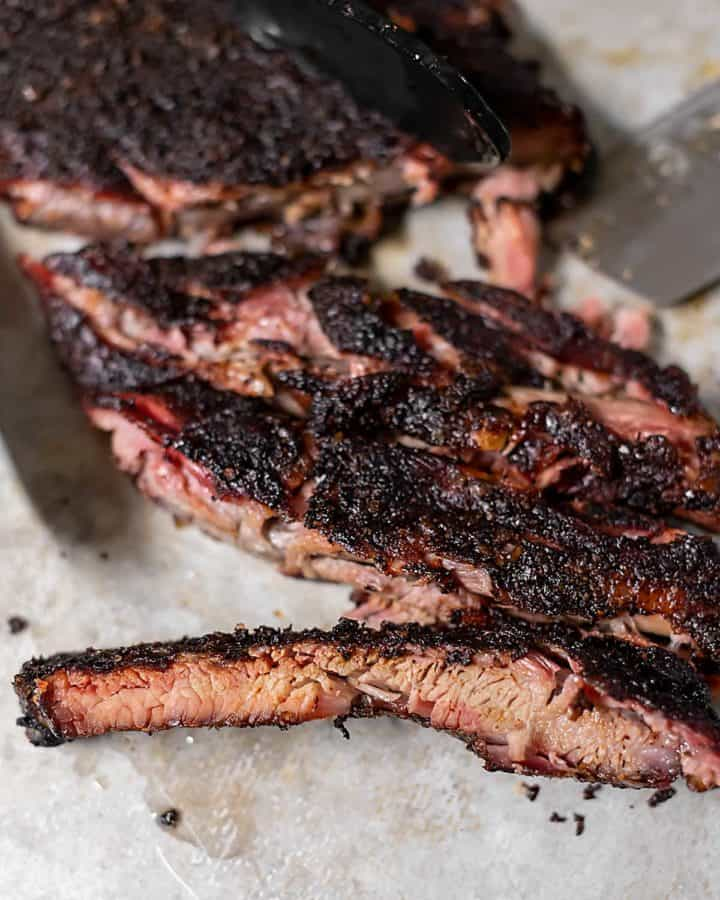 smoked ribs on a sheet pan