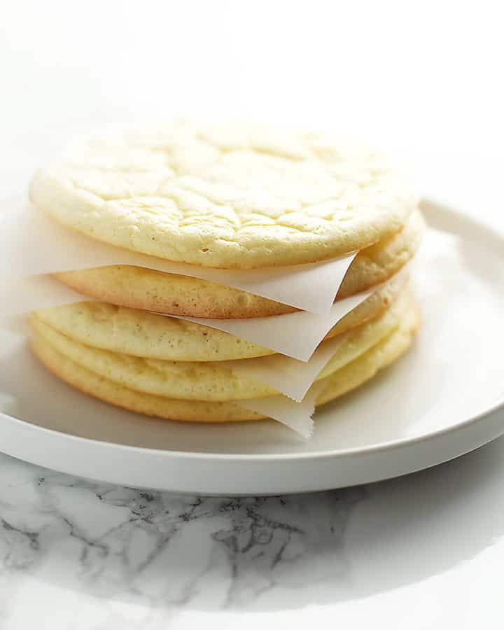 cloud bread stacked on a plate