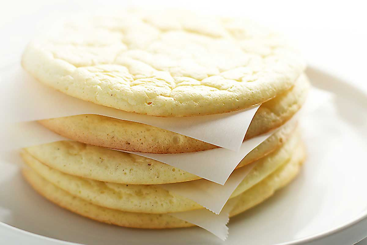 cloud bread with parchment paper between each piece