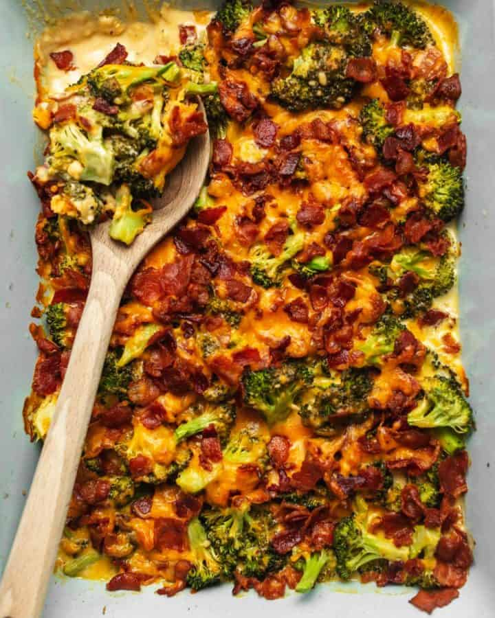 broccoli casserole in a dish