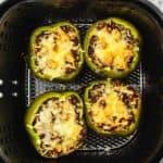 stuffed peppers in an air fryer basket
