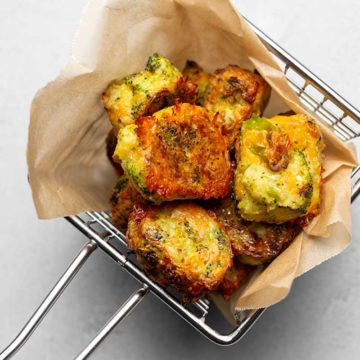 cheddar broccoli tots in a basket