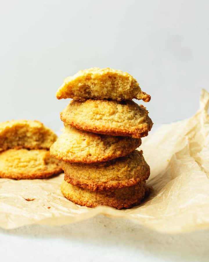 keto butter cookies stacked