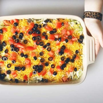 KETO 7 LAYER DIP IN A CASSEROLE
