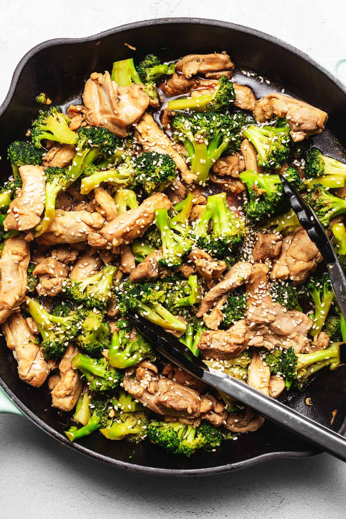 keto chicken broccoli in a large skillet