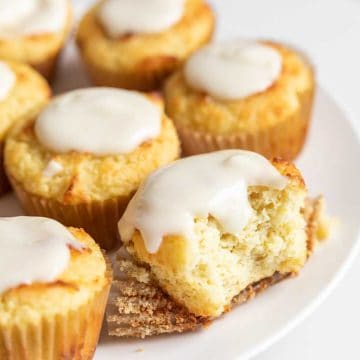 lemon muffins on a white plate