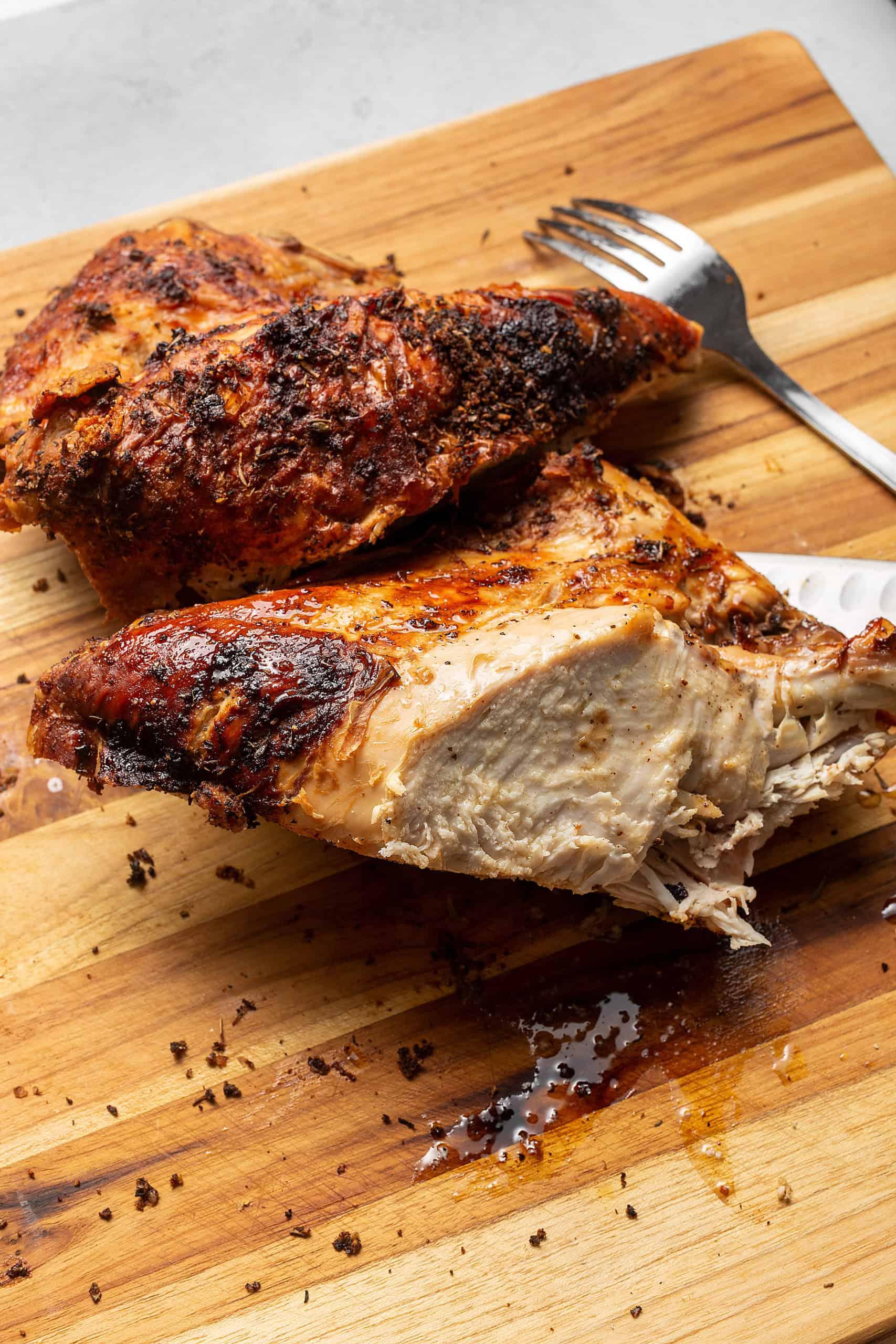 crispy turkey breast on a cutting board