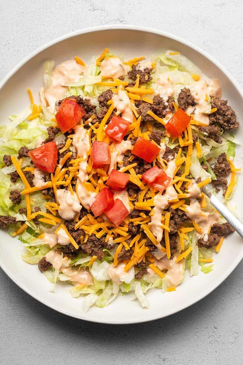 Big Mac salad in a white bowl