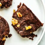 brownies on a white plate