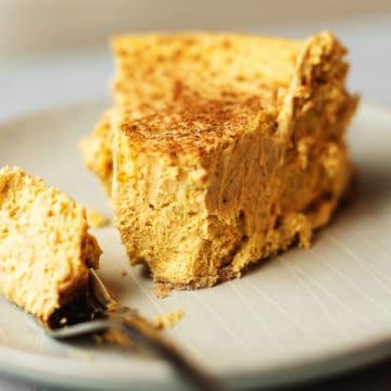 a slice of pumpkin cheese cake