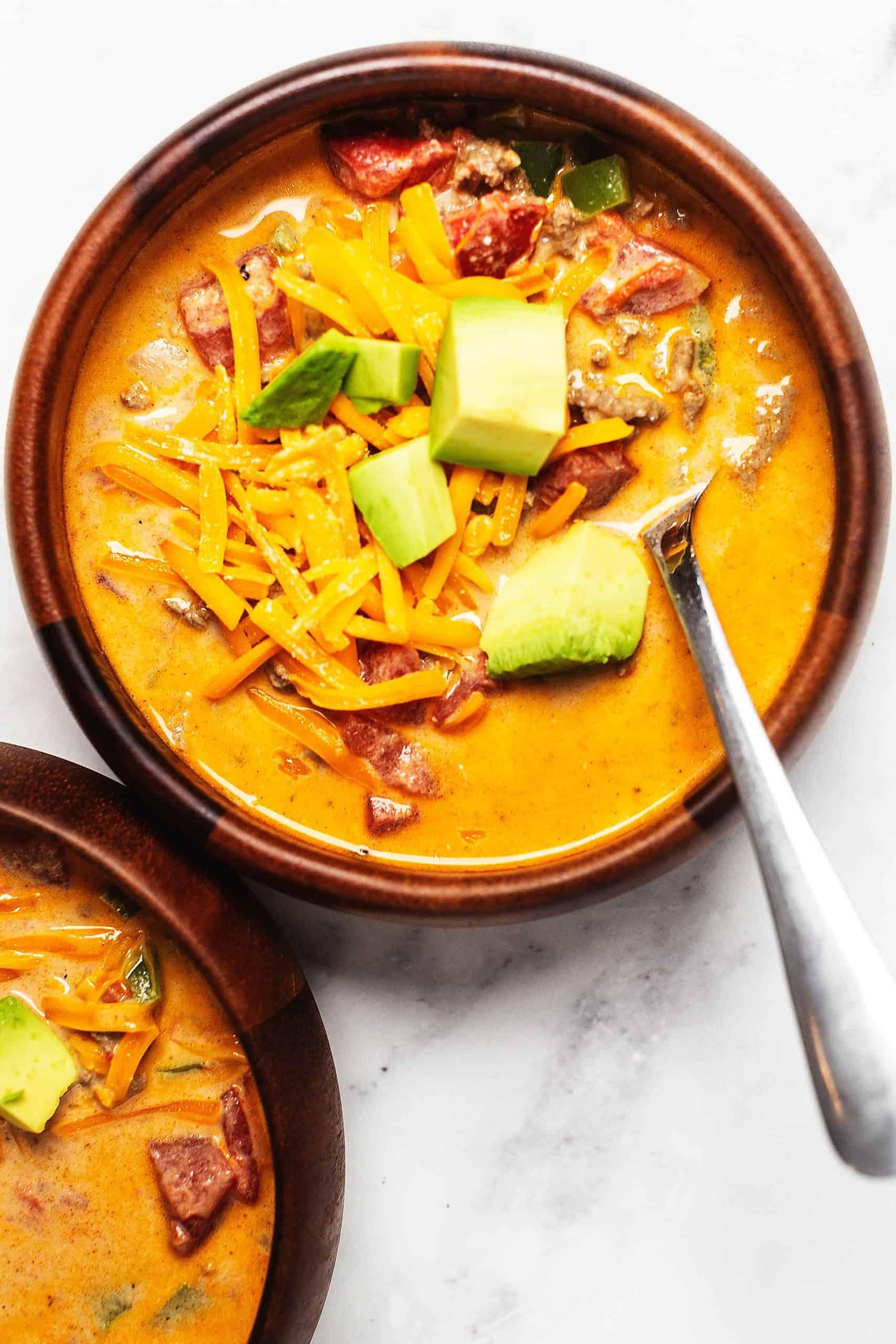 creamy taco soup on a bowl