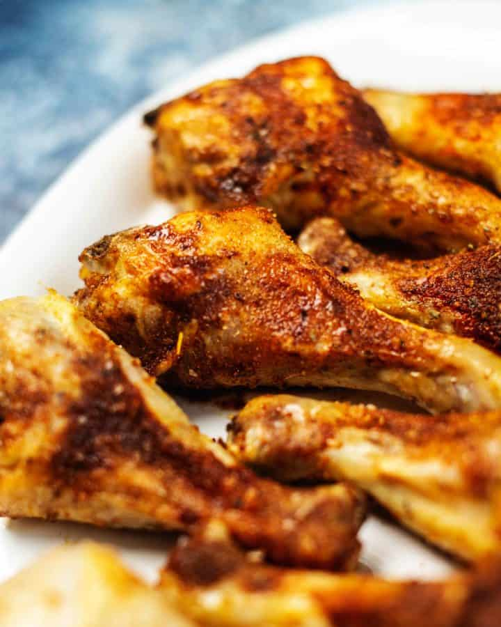 air fryer chicken legs on a plate