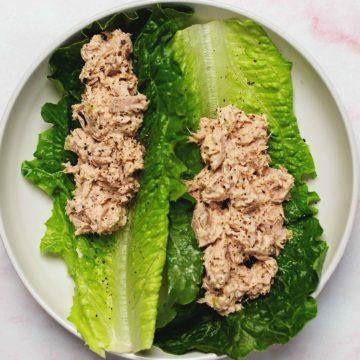 keto tuna salad lettuce boats