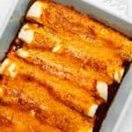 keto chicken enchiladas in a casserole dish