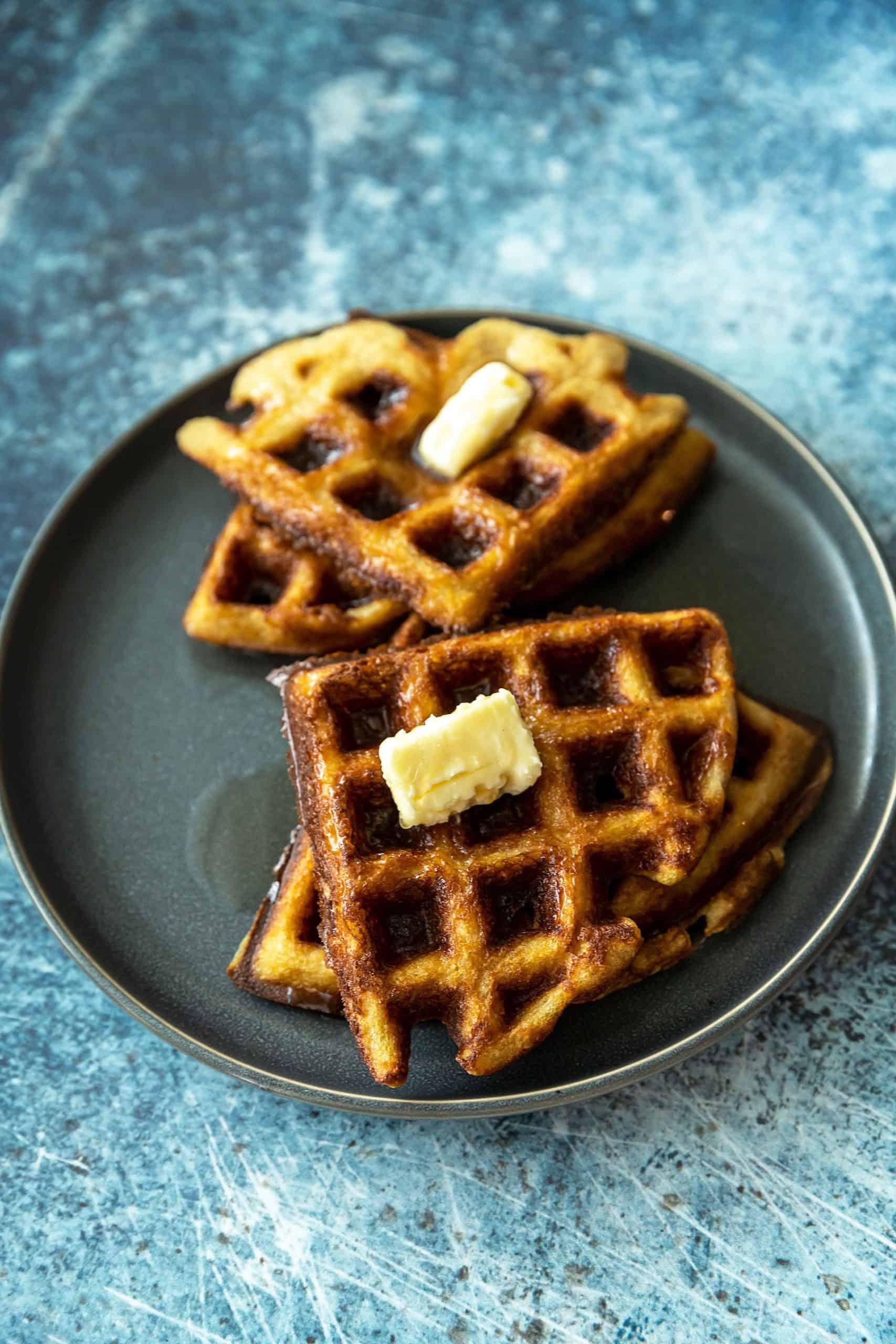 a big plate of waffles