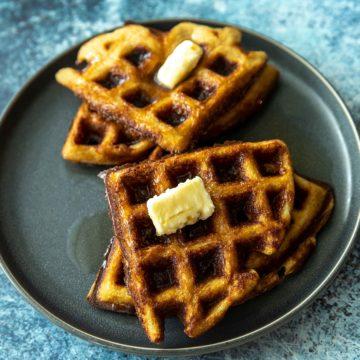 keto waffles on a gray plate