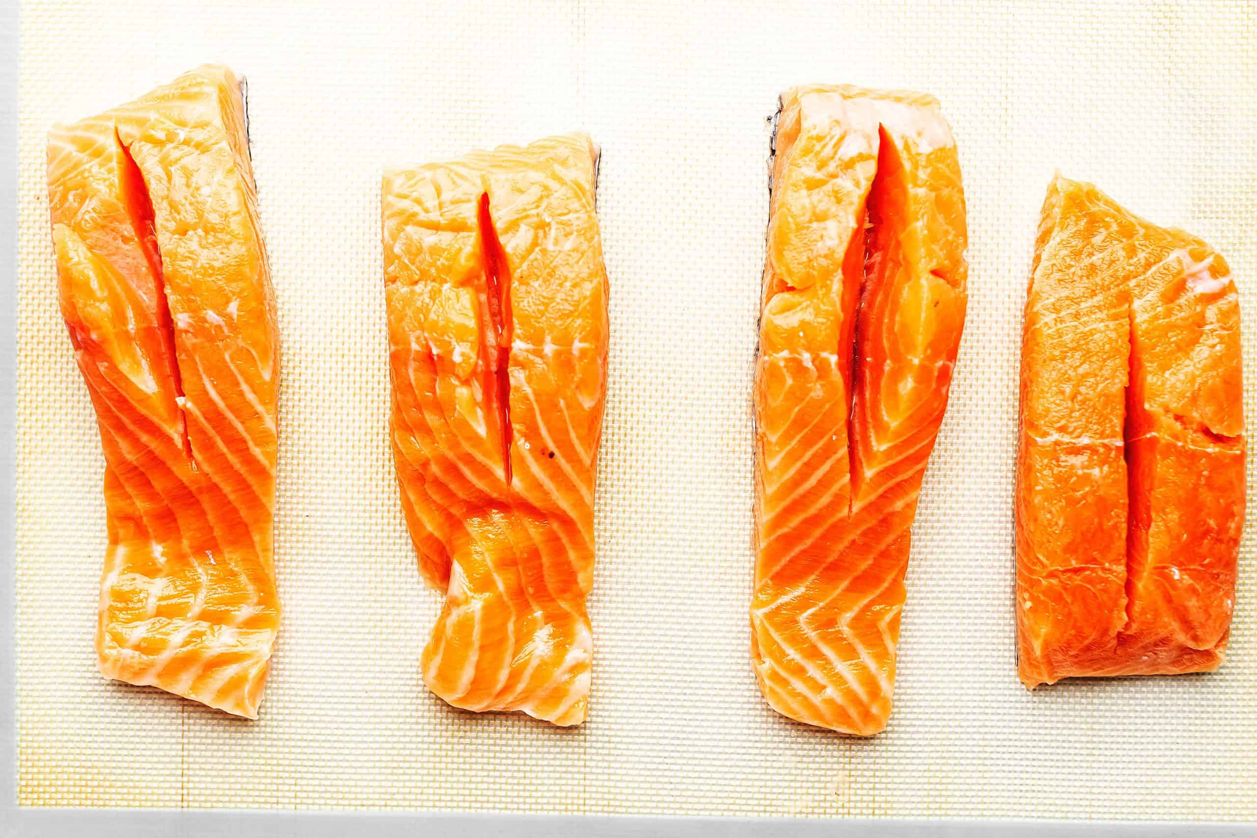 slit cut in salmon filets