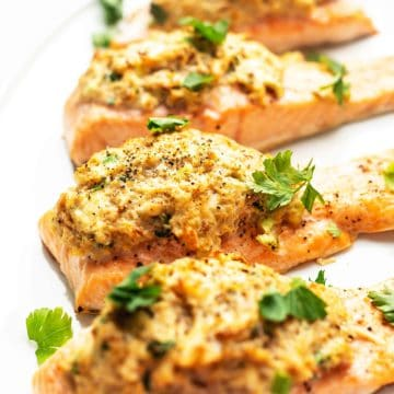 crab stuffed salmon recipe image