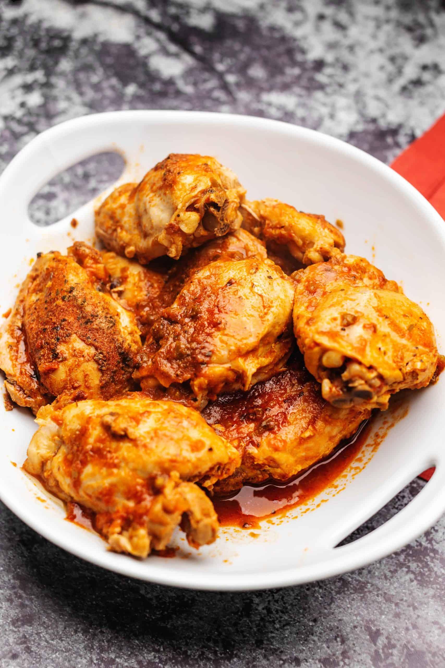 Instant pot salsa chicken in a white bowl