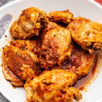 salsa chicken in a white bowl