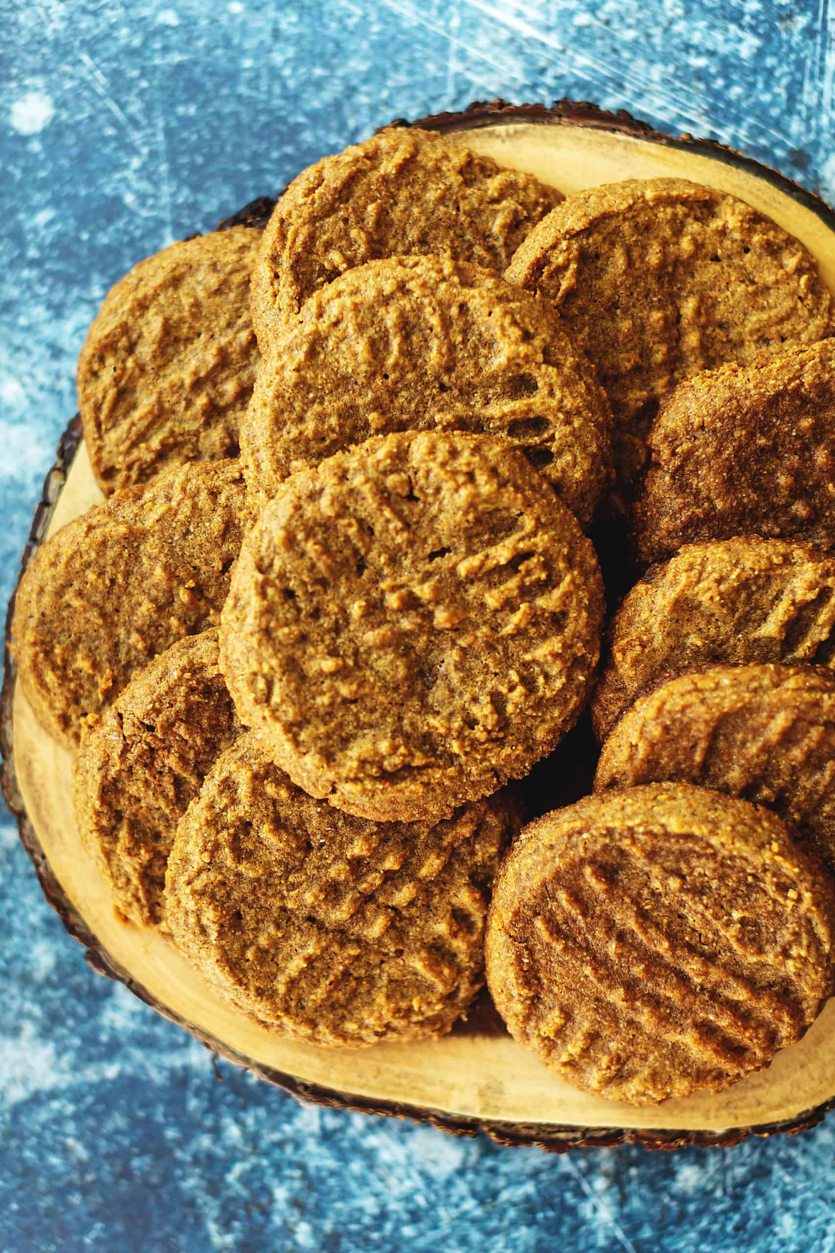 almond butter cookies stacked