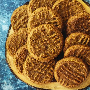 almond butter cookies on a wooded tray
