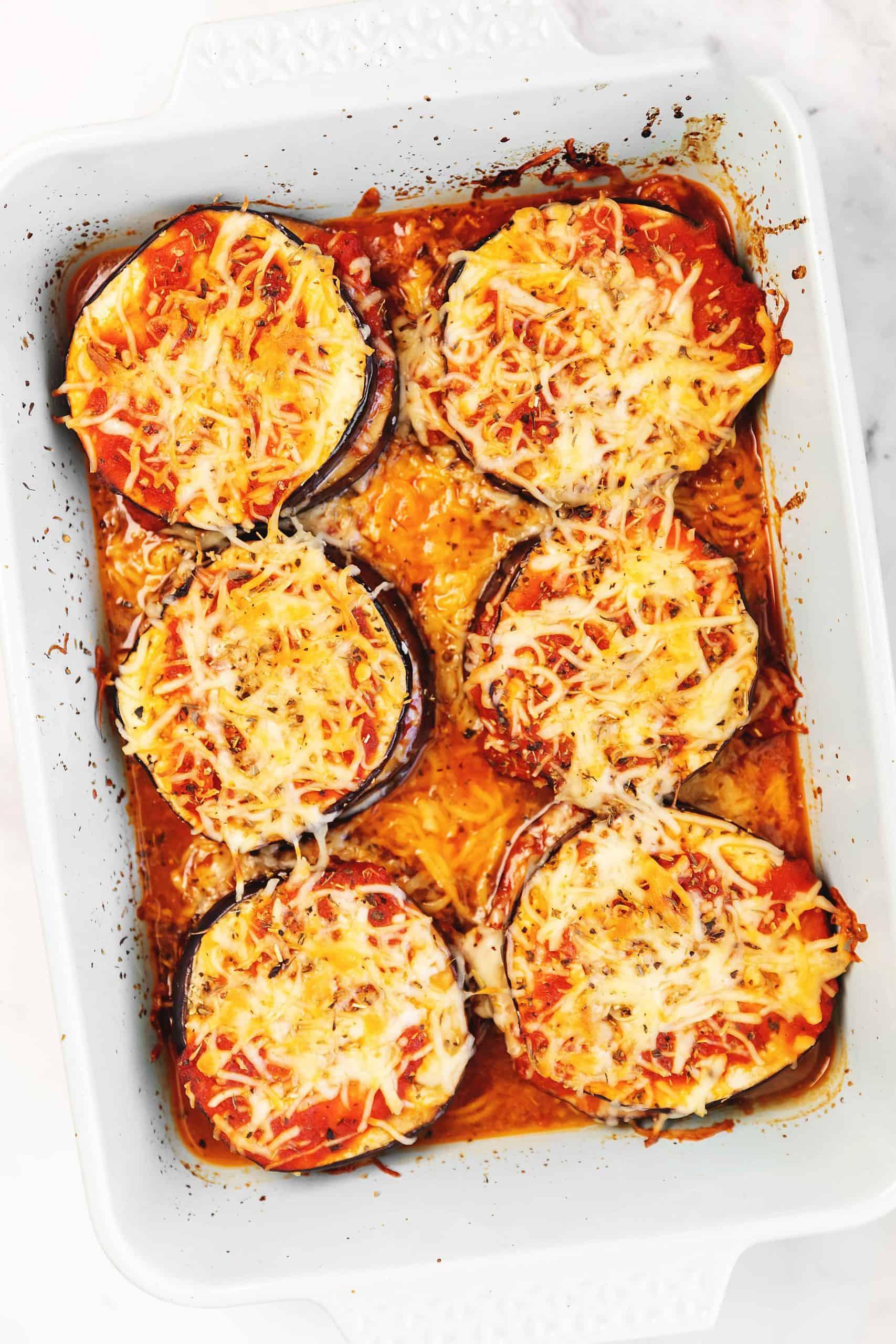 keto eggplant parmesan in a casserole dish
